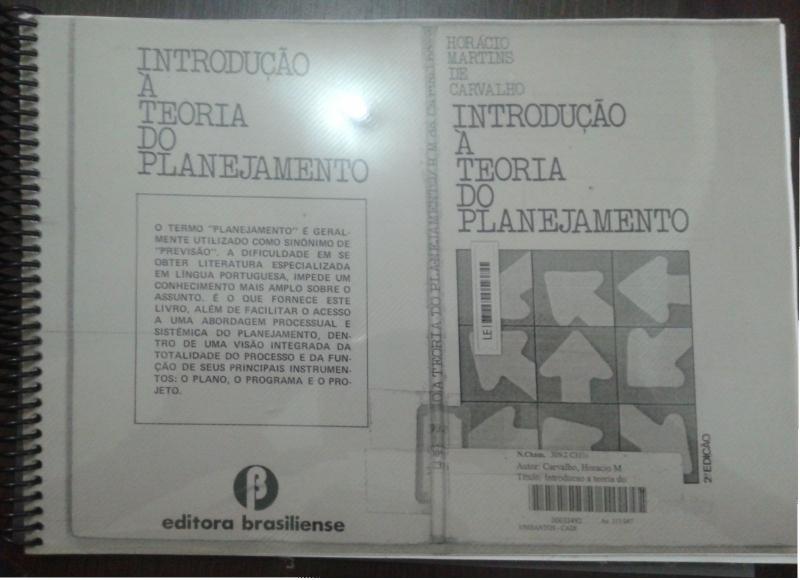 Capa de Introdução à teoria do planejamento - Horácio Martins de Carvalho